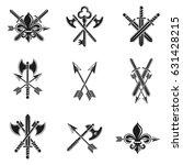 vintage weapon emblems set.... | Shutterstock .eps vector #631428215