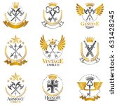vintage weapon emblems set.... | Shutterstock .eps vector #631428245