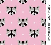 seamless raccoon pattern in... | Shutterstock .eps vector #631449269