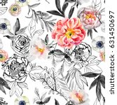 watercolor and ink doodle...   Shutterstock . vector #631450697