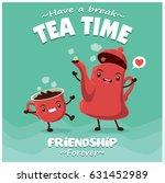 vintage tea pot   cup poster... | Shutterstock .eps vector #631452989