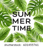 summer poster with tropical... | Shutterstock .eps vector #631455761