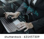 businessman connected with... | Shutterstock . vector #631457309