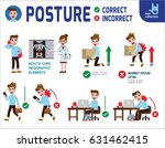 correct and incorrect posture.... | Shutterstock .eps vector #631462415