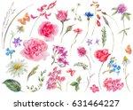 watercolor set of vintage... | Shutterstock . vector #631464227