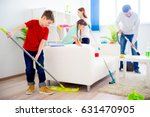 family cleaning house | Shutterstock . vector #631470905