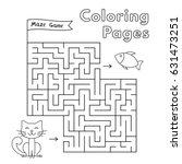 cartoon cat maze game. vector...   Shutterstock .eps vector #631473251