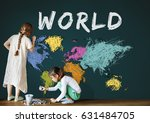 colorful world map geography... | Shutterstock . vector #631484705