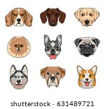 cartoon dog faces set. husky ... | Shutterstock .eps vector #631489721