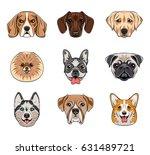 cartoon dog faces set. husky ... | Shutterstock .eps vector #631489721
