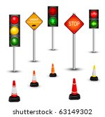 Traffic sign and traffic lamps, vector illustration