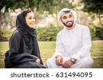 arabic couple with traditional... | Shutterstock . vector #631494095