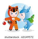Children in costumes for the eastern calendar years - the tiger and the rabbit. - stock vector