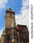 ancient town hall in prague  | Shutterstock . vector #631497017