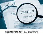 legal contract with magnifying... | Shutterstock . vector #63150604