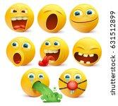 set of yellow emoji characters... | Shutterstock .eps vector #631512899