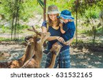 mother and son feeding... | Shutterstock . vector #631532165