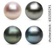 pearl realistic set isolated on ... | Shutterstock .eps vector #631535291