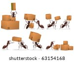 package delivery mail order cardboard box packet send by ants freight transportation and logistics concept, shipping order from online web shop ants delivering post like postman - stock photo