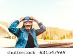 young girl have fun in vr... | Shutterstock . vector #631547969