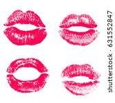 print of pink lips. vector... | Shutterstock .eps vector #631552847