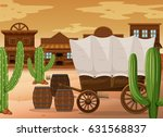 western town scene with wooden... | Shutterstock .eps vector #631568837