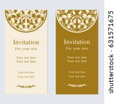 vintage invitation and wedding... | Shutterstock .eps vector #631571675