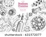italian cuisine top view frame. ... | Shutterstock .eps vector #631572077