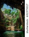 cenote ecoturistico ik kil with ... | Shutterstock . vector #631575317