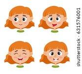 little red haired girl happy... | Shutterstock .eps vector #631576001