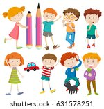 boys and girls in different... | Shutterstock .eps vector #631578251