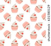 cute pattern with strawberry... | Shutterstock .eps vector #631580129