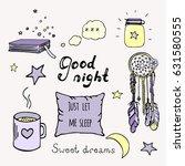 good night color doodle set....   Shutterstock .eps vector #631580555