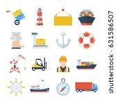 sea port set of vector icons in ... | Shutterstock .eps vector #631586507