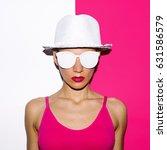 girl pop art style beach hat... | Shutterstock . vector #631586579
