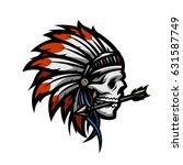 skull of an indian warrior. | Shutterstock .eps vector #631587749