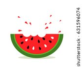 watermelon icon in a flat style.... | Shutterstock .eps vector #631596074