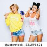 happy attractive girlfriends in ...   Shutterstock . vector #631598621