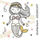 cute mermaid character in hand... | Shutterstock . vector #631601147