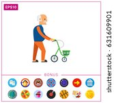 old man with walkers flat icon | Shutterstock .eps vector #631609901