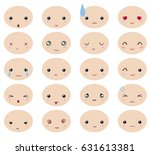 kawaii facial expression for... | Shutterstock .eps vector #631613381