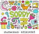 doodles cute isolated elements. ... | Shutterstock .eps vector #631614365