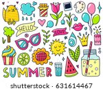 doodles cute isolated elements. ... | Shutterstock .eps vector #631614467