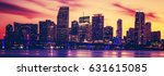 view of miami at sunset ... | Shutterstock . vector #631615085