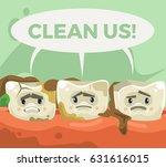 dirty sad unhappy teeth...   Shutterstock .eps vector #631616015