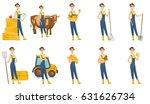 caucasian farmer holding basket ...   Shutterstock .eps vector #631626734