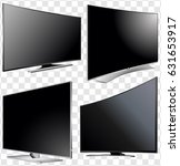 set of curved and flat tv... | Shutterstock .eps vector #631653917