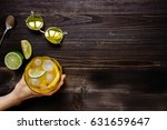 hand holding ice drink. ice tea ... | Shutterstock . vector #631659647