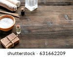 spa set with towels and soap on ...   Shutterstock . vector #631662209