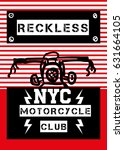 new york motorcycle club t... | Shutterstock .eps vector #631664105